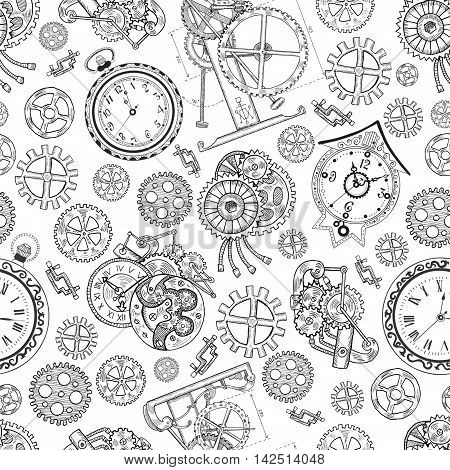 Seamless graphic background with clocks and mechanical parts on white. Graphic linear pattern with engraved drawings, vintage illustration with retro watch and mechanisms, steampunk style