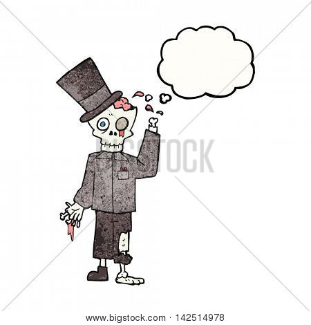 freehand drawn thought bubble textured cartoon posh zombie