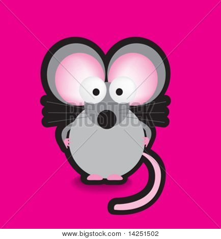 Funky vector illustration of a mouse with a chunky black outline