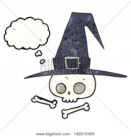 freehand drawn thought bubble textured cartoon witch hat with skull