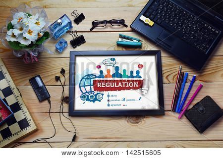 Regulation Concept And Group Of People On Wooden Office Desk.