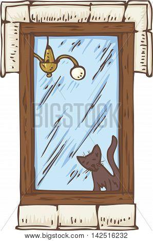 Wooden Window with Black Cat on a Windowsill. Hand Drawn Illustration
