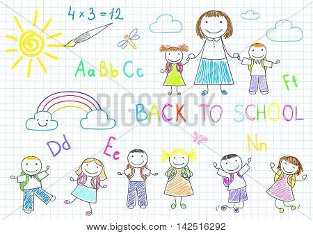 Back to school. Vector sketches with happy pupils and teacher. Sketch on notebook page