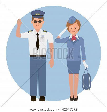 Pilot and stewardess before flight. Flat style