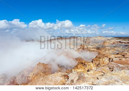 Steaming geothermal area Seltun near Krysuvik, Reykjanes peninsula - Iceland.
