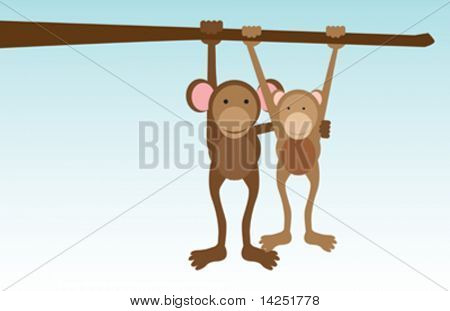 A vector concept illustration of monkeys in love hanging from a tree