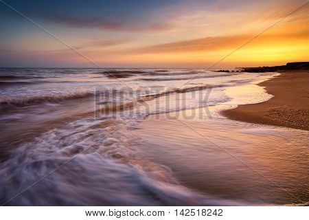 Seascape during sunrise. Seascape in the summer time