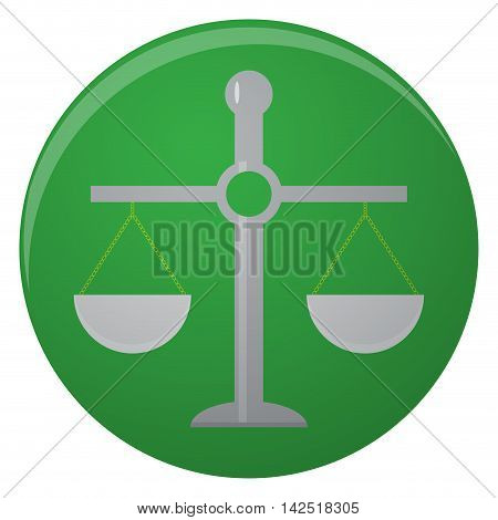 Vintage icon scale. balance scale of justice isolated in round. Vector illustration