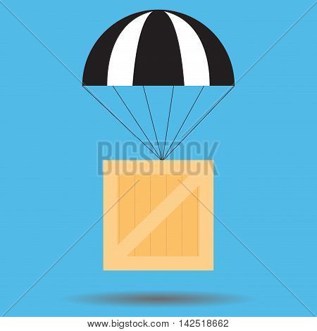 Parcel delivery flat. Delivery icon and free delivery in air. Vector illustration