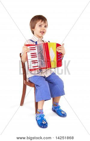 Little Boy Playing Accordion