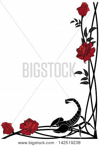 vector background with roses and scorpion for corner design
