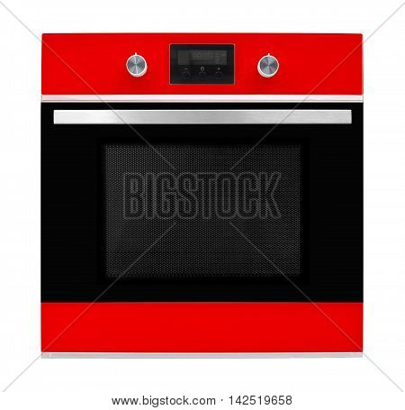 Household appliances - Red electrical oven on a white background.