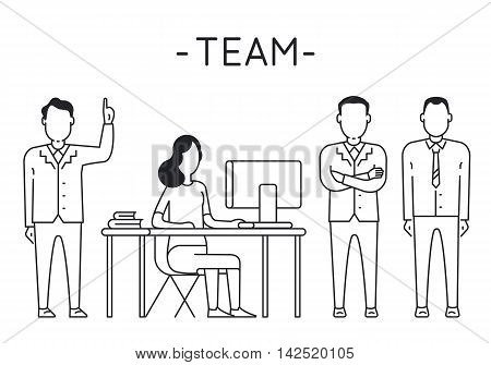 Linear Vector Concept of Business People Teamwork Human Resources Career Opportunities Team Skills