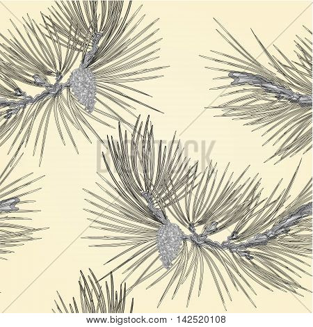 Seamless texture Pine branch and pine cone as vintage engraving vector illustration