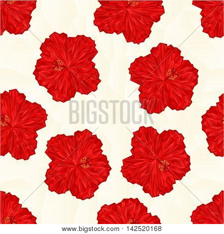 Seamless texture red hibiscus flower chinese rose polygons vector illustration