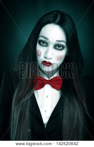 Woman with scary makeup
