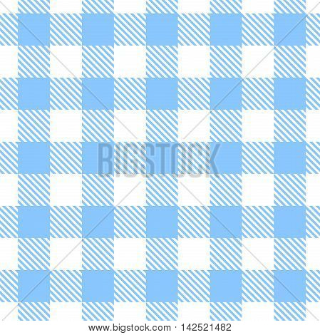Vector seamless blue and white gingham pattern.