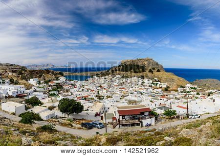 Lindos village and castle, Rhodes island, Dodecanese, Greece.