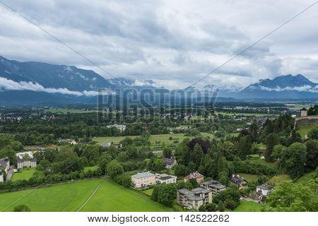 nice view of Austrian city of Salzburg.