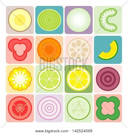 Vector fruits and vegetables icons set