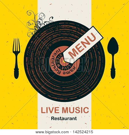 banner for menu restaurant with live music patterned vinyl and cutlery