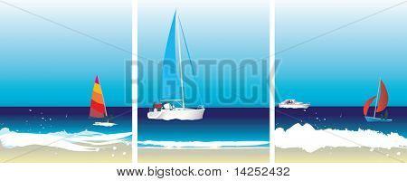 Set of illustration sailing and boat images on the ocean