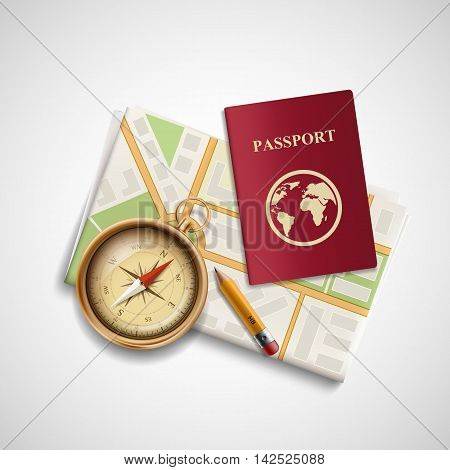 Icon city map a compass and a passport. Trip and travel. Stock vector realistic illustration.