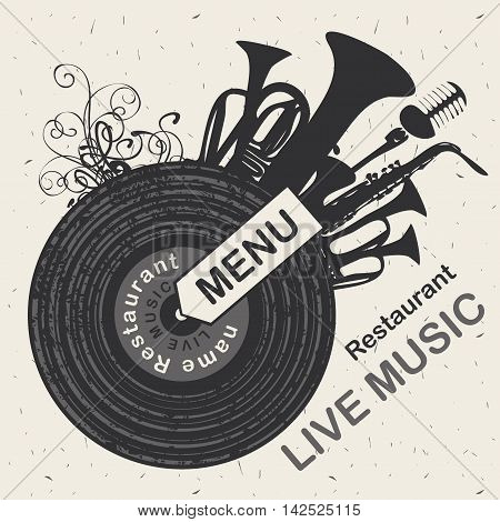 banner for menu restaurant with live music patterned vinyl and musical instruments