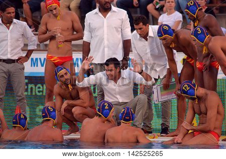 Budapest Hungary - Jul 15 2014. Gabriel HERNANDEZ head coach talking about the tactics. The Waterpolo European Championship was held in Alfred Hajos Swimming Centre in 2014.