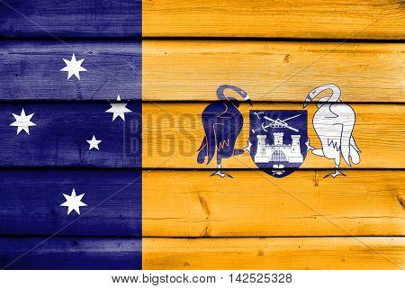 Flag Of Australian Capital Territory, Australia, Painted On Old Wood Plank Background
