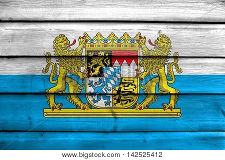 Flag Of Bavaria With Coat Of Arms, Germany, Painted On Old Wood Plank Background