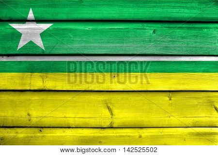 Flag Of Boa Vista, Roraima, Brazil, Painted On Old Wood Plank Background