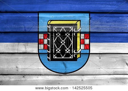 Flag Of Bochum With Coat Of Arms, Germany, Painted On Old Wood Plank Background