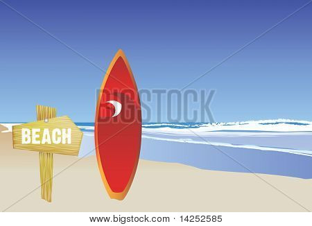 illustration of a modern style beach and surfboard