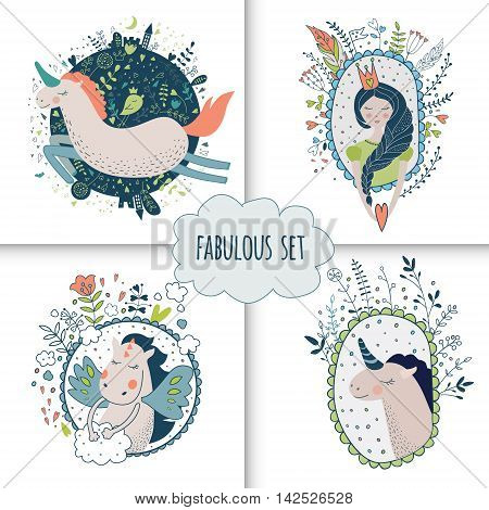 Cute magic collection with princess, unicorn, rainbow, dragon, fairy wings. Dream Spring illustration. Vector isolated illustration on white.