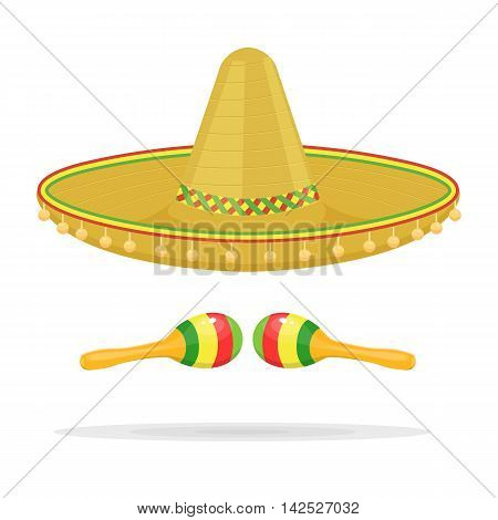 Mexican sombrero with maracas vector illustration isolated on a white background