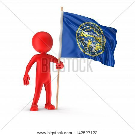 Man and flag of the US state of Nebraska. Image with clipping path. 3d render