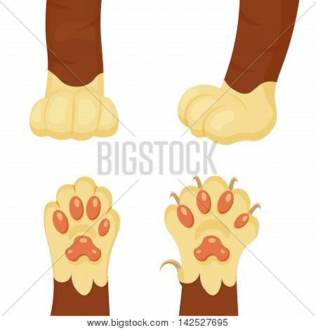 Cat foot cartoon vector illustration isolated on a white background