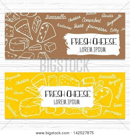 Hand drawn cheese banners set. Template for cheese shoporganic food etc.Vector illustration