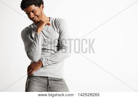 Young Sexy Black Model Wearing Light Gray Longsleeve T-shirt
