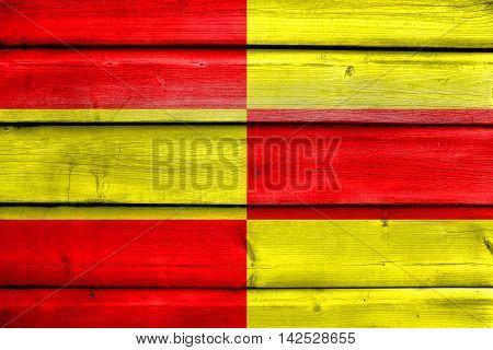 Flag Of Briceni, Moldova, Painted On Old Wood Plank Background