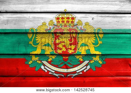 Flag Of Bulgaria With Coat Of Arms, Painted On Old Wood Plank Background