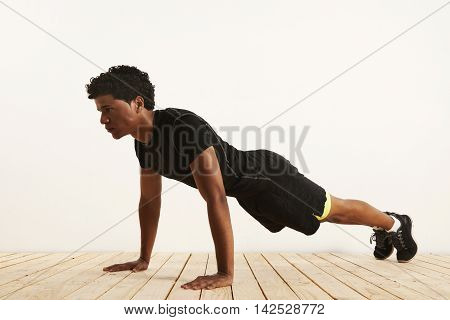 Young Black Athlete Doing Pushups