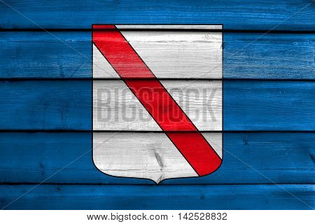 Flag Of Campania, Italy, Painted On Old Wood Plank Background
