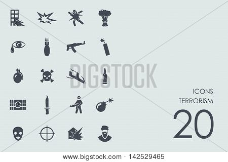 terrorism vector set of modern simple icons
