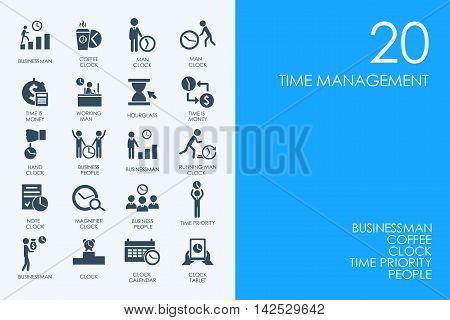 BLUE HAMSTER Library time management vector set of modern simple icons