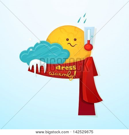 Concept design of the seasonal weather changes, sun cute character upset temperature reduction and encourages dress warmer, vector illustration on winter background