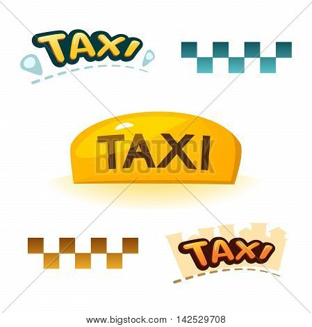 The yellow illuminated taxi sign, checkerboard sign and taxi logos, vector illustration