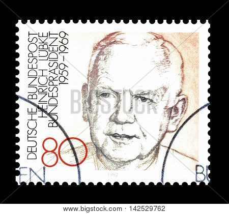 GERMANY - CIRCA 1982 : Cancelled postage stamp printed by Germany, that shows Heinrich Lubke.
