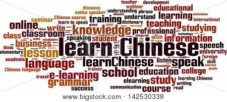 Learn Chinese word cloud concept. Vector illustration